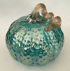 NEW 8 wide Art Glass Pumpkin TEAL BLUE GREEN Textured Iridescent Translucent