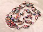Vtg Italian Murano Millefiori Glass Bead Necklace Gigantic 41 long w Oval Beads