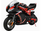 49cc MotoTec Gas Pocket Bike GT 2 Stroke Black Red 11 Tire kid ride US Only