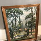 Paint By Number PBN 1964 Garden Pool Vintage Large 16 X 20 Framed No Glass