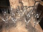 13 Antique Clear Etched Depression Glass Optic Tall Stemmed Water Wine Goblets