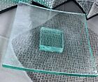 Large 10 Square Green Annieglass ART GLASS Plate Tray Slab with Pedestal Base
