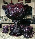 Antique Imperial Glass Whirling Star Amethyst Punch Bowl With Stand Set 10 Cups