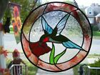 Stained Glass Blue Hummingbird Sun catcher Real Glass