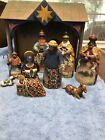 Christmas Heartwood Creek Jim Shore Wooden Nativity Set 10 Pc Rare 2003
