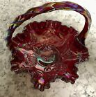 Fenton Hummingbird Cabbage Rose Ruby Red Carnival Glass Basket
