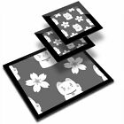 Glass Placemat  2x Coaster BW Cute Lucky Cat  Flower Chinese China 414