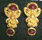 Avon ELIZABETH TAYLOR Angel Earrings GOLD PLATED RUBY RED GLASS PEARL Clip On