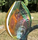 SIGNED 2012 Hand Blown STUDIO ART GLASS VASE ABSTRACT Flat Oval Etched Colorful