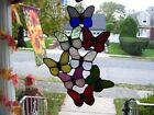 Stained Glass Spring Butterflies Sun catcher Real Glass