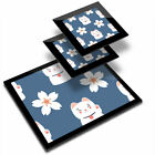 Glass Placemat  2x Coaster Cute Lucky Cat  Flower Chinese China 8729