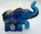 Fenton Glass Lenox Indigo Blue Elephant Hand Painted Orange Flowers