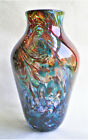 HAND BLOWN STUDIO ART GLASS VASE WITH MULTI COLOR SWIRLS SIGNED CM 9 HIGH