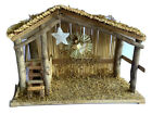 Nativity Manger Crche Vintage 70s Christmas Angel Star Handmade Natural 14 inch