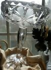 Tall Pairpoint 8 Cut Glass Compote Floral Star  Leaves Teardrop Dot Stem