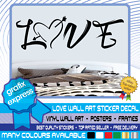 Love Heart Quote Word Art Vinyl Wall Sticker Home Bedroom Room Decal Deco Family