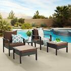 Patio Sofa All Weather PE Wicker Conversation Set for Balcony Garden or Poolside