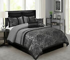 HIG 8 Piece Tang Jacquard Fabric Patchwork Comforter Set Gray Queen King Size
