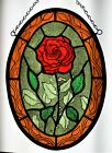 Stained Glass Hand Painted Kiln Fired Panel Red Rose  2101 04