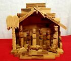 Vtg Olive Wood Nativity Set Piece Primitive Style Wooden Hand Carved Christmas