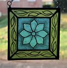 Stained Glass Hand Painted Kiln Fired Blue Flower  1402 08