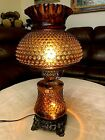 Vintage Brown Amber Hobnail Hurricane Electric Glass Table Lamp