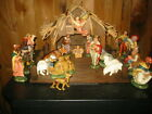 Vintage 20 pc Nativity Set Painted Made in Italy Wood Stable Christmas 6 1 2