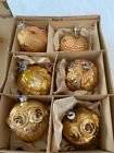 Vintage West Germany Blown Glass Flower Baskets Christmas Ornaments Glittered