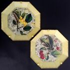 2 Moonlighting Interiors Decoupage Octagon Glass Plates Cherries  Wall Mounts