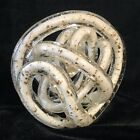 Hand Blown Art Glass Abstract Twisted Rope Knot Sculpture White w Silver Flecks