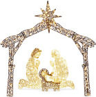 Large Nativity Scene Outdoor Baby Jesus Birth Figures LED Lights Wire Yard Decor