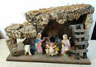 Antique ITALY 6 Piece Nativity Figures with Creche 7 1 2 Tall 11 1 2 Wide