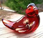 Fenton Glass Ruby Red Amberina Glass Song Bird H P Golden Ponds Gold Accents