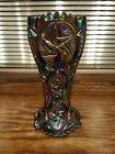 LE Smith Heritage Amethyst Carnival Glass Vase Comet In The Stars 9