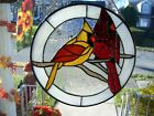 Stained Glass Male  Female Cardinals Sun catcher Real Glass