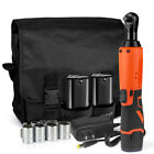 12V Electric Cordless Ratchet 3 8Right Angle Wrench Impact Power Tool 2 Battery