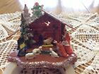 Vtg Nativity Manger Scene Hard Plastic Holy Family Hong Kong Glitter Angel Big