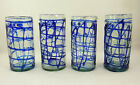 Mexican Glass Tumblers Cobalt Blue Clear Spaghetti Set of 4 Hand Blown