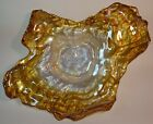 Freeform Art Glass Platter by Akcam of Turkey 15 x 12 Ombre Amber Gold Pearl
