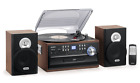 New Jensen 3 Speed Stereo Turntable Music System CD Cassette AM FM Radio Brown