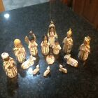 14 piece Hand Painted white and gold Nativity Figurines from Mexico