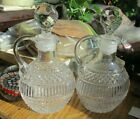 ANTIQUE VINTAGE PAIR OF PRESSED GLASS OIL VINEGAR CRUETS WITH BEVELED STOPPERS