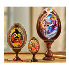 SET OF 3 NATIVITY WOODEN ICONS EGGS Christmas Decorations Gifts on Egg Stand