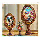 SET OF 3 NATIVITY HOLY FAMILY WOODEN ICONS EGGS Christmas Decorations