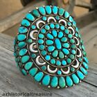 NATIVE AMERICAN ZUNI SILVER NATURAL TURQUOISE CLUSTER BRACELET ONDELACY