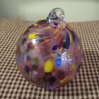 Loretta Eby Handblown Glass Ball Ornament Signed Pink Confetti Circles Christmas