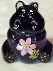 FENTON GLASS PURPLE FLOWER POWER HIPPO HAND PAINTED SIGNED