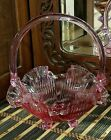 FENTON CRANBERRY GLASS BASKET CENTERPIECE RUFFLED CRIMPED FOOTED FULL SIZE MINT