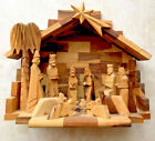 HAND CARVED OLIVE WOOD NATIVITY MANGER SCENE Creche Holy Land 9x7x5