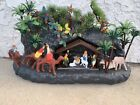 Vintage MCM Plastic Blow Mold Christmas Manger Nativity Scene